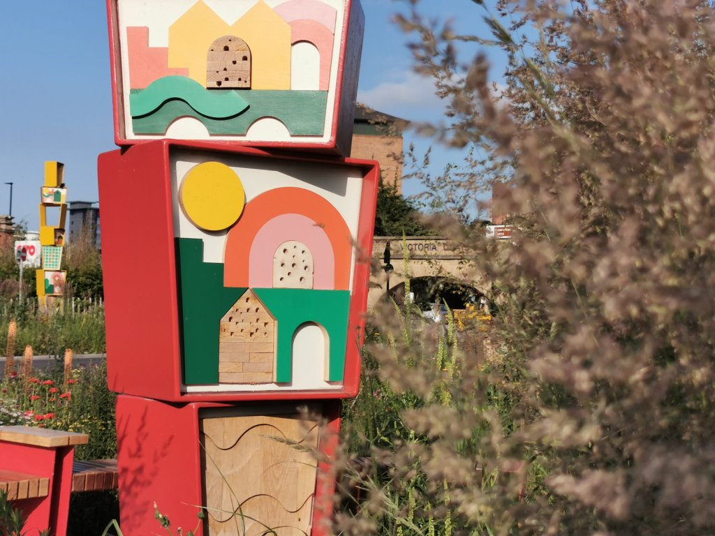A bug hotel in the Castlegate area of Sheffield