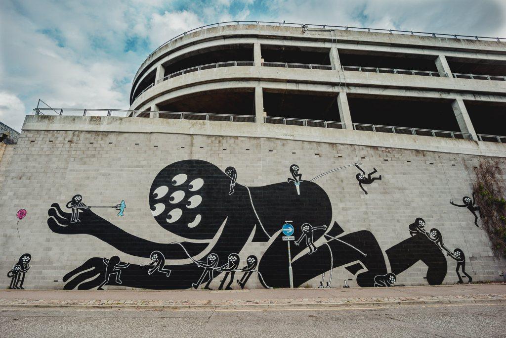 Street art mural in Aberdeen by local artist KMG on Palmerston Road
