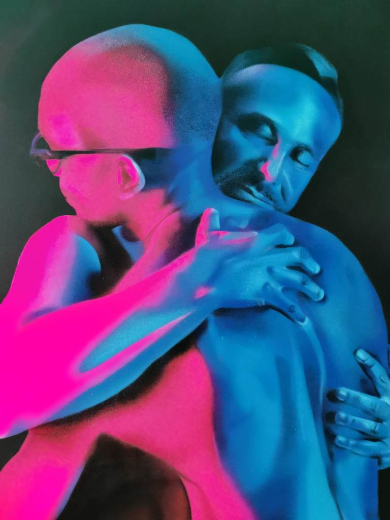 A painting showing a male embrace. This work was shown as part of David Speed's 'Light of Life' exhibition