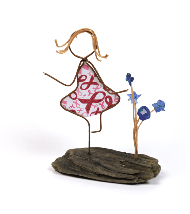 Image of Celebrate Life, a sculpture in wire and cut paper on driftwood by Patti Jones.