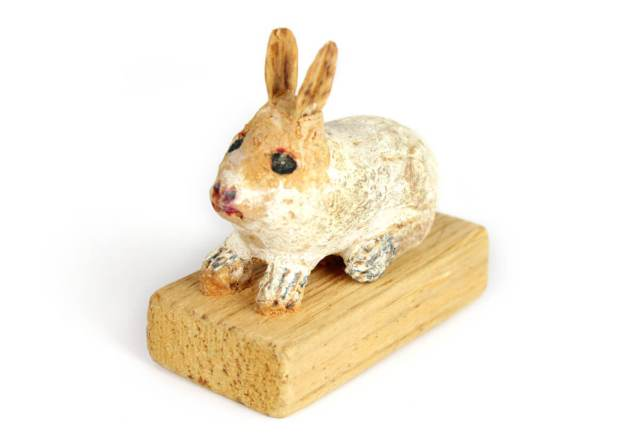 Photo of bunny hand-carved from walnuts by Patti's grandfather Homer.