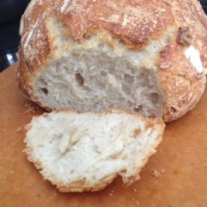 close up of bread on board