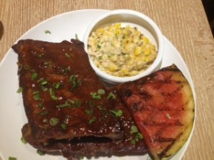 Ribs with creamy corn and grilled watermelon