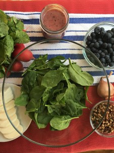 sweet and spicy spinach salad