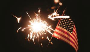 July 4th flag fireworks
