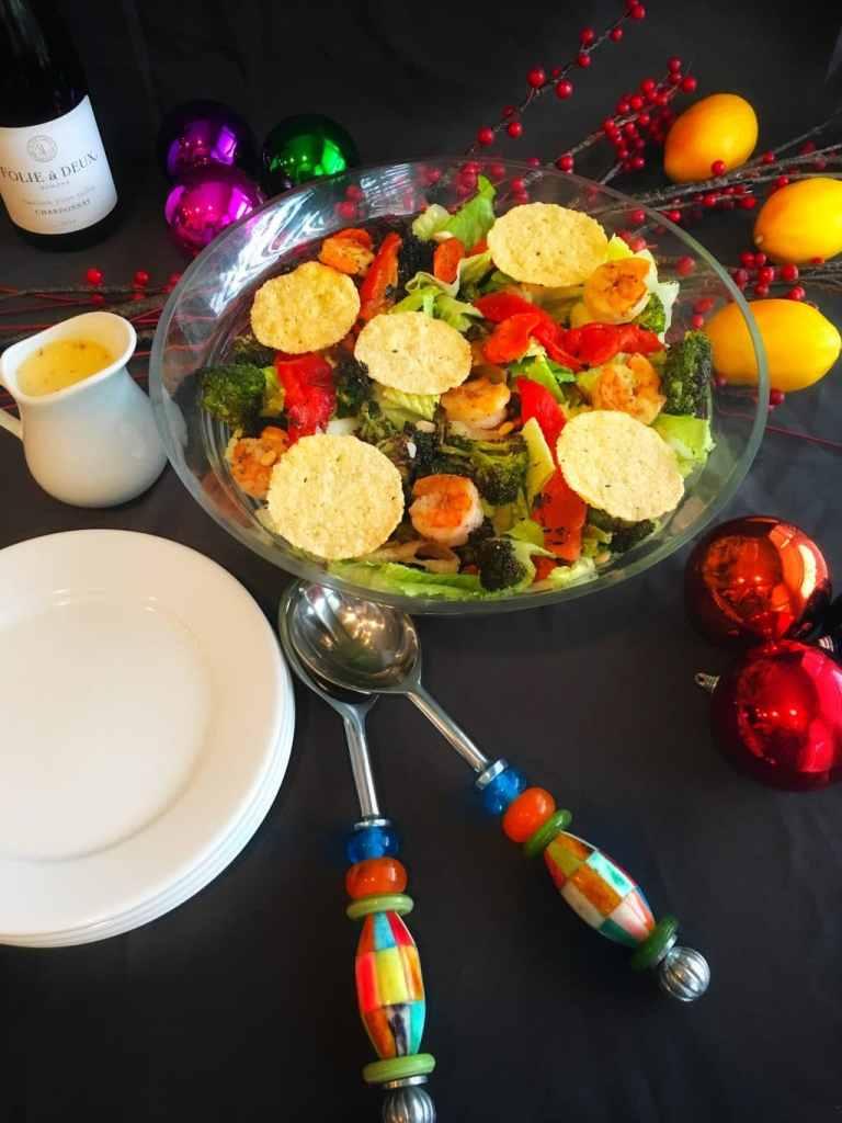 Roasted Shrimp and Vegetable Salad with Parmesan Crisps