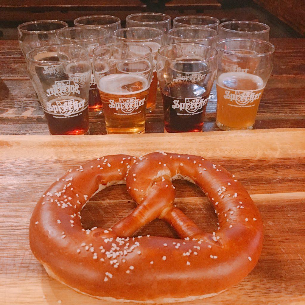 sprecher beer and pretzel