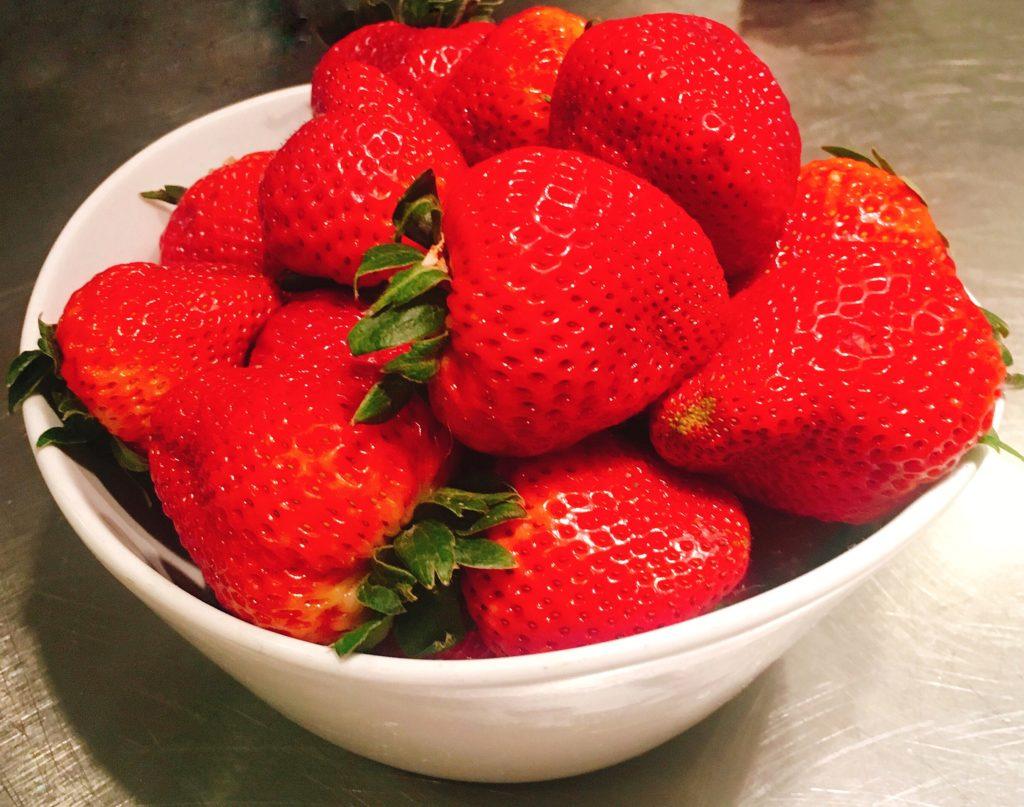 fresh strawberries in a bowl