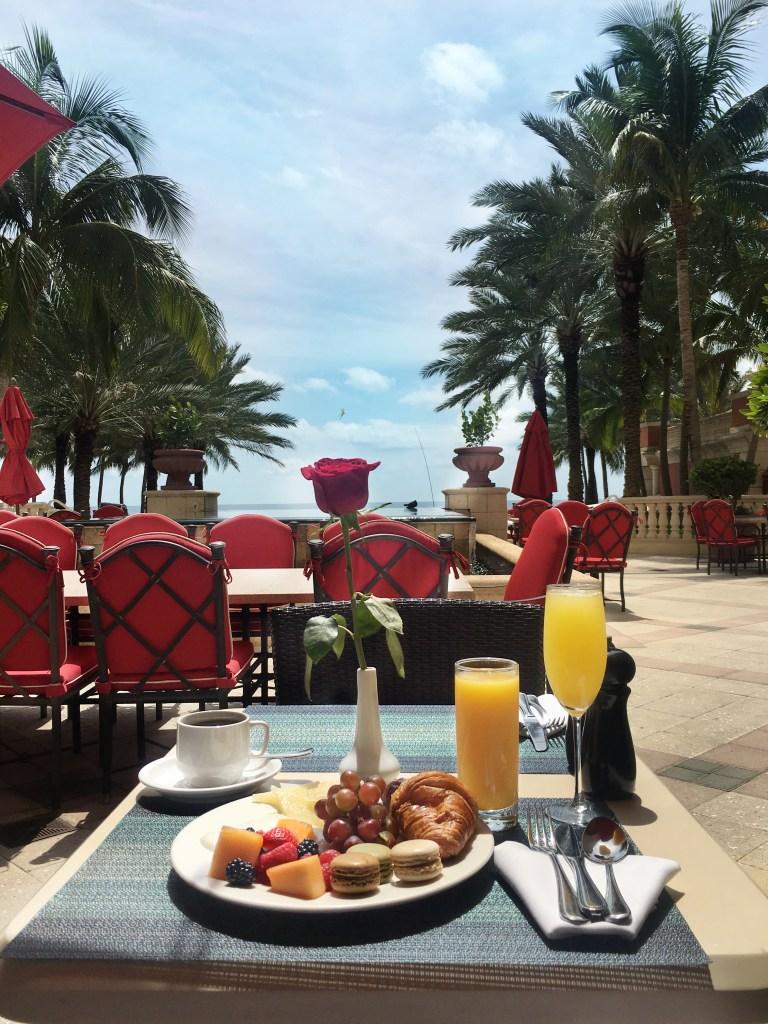 breakfast on the patio at Acqualina sunny isles beach