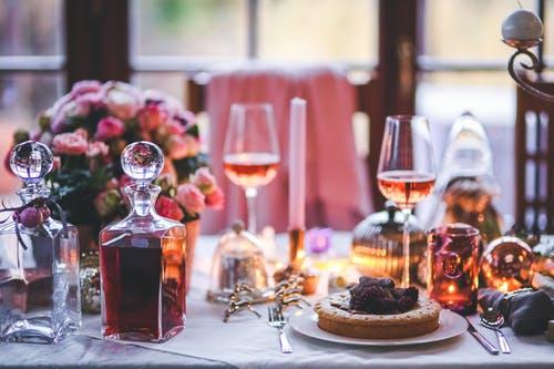 Wine glasses on table setting