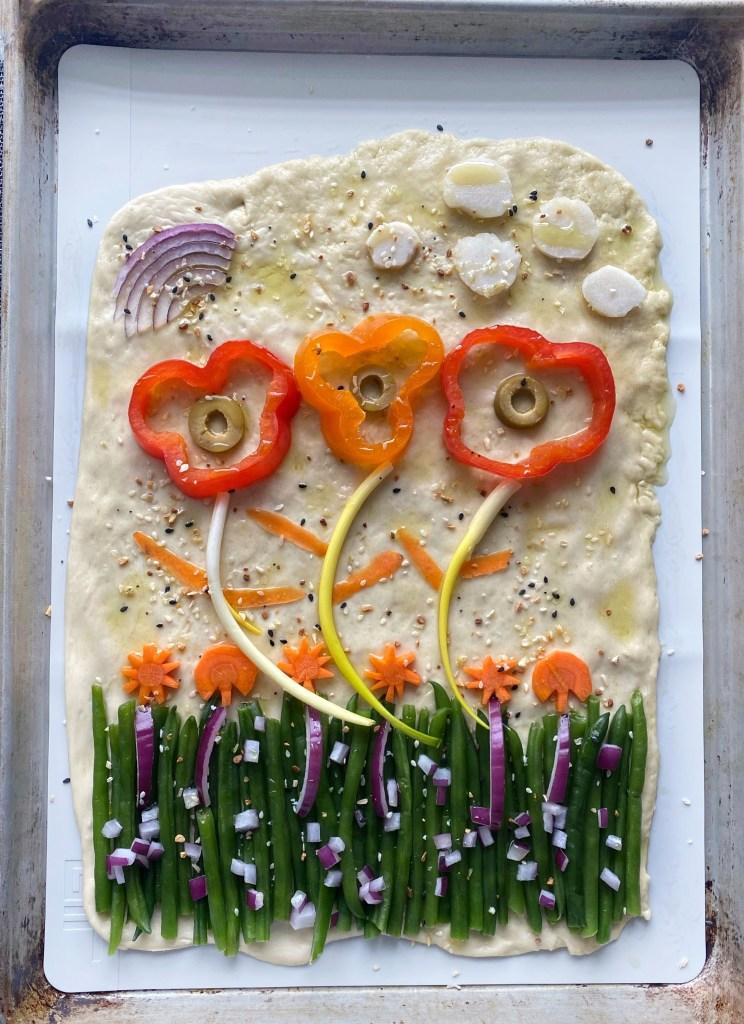 raw focaccia dough art