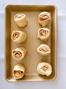 cinnamon rolls in the pan