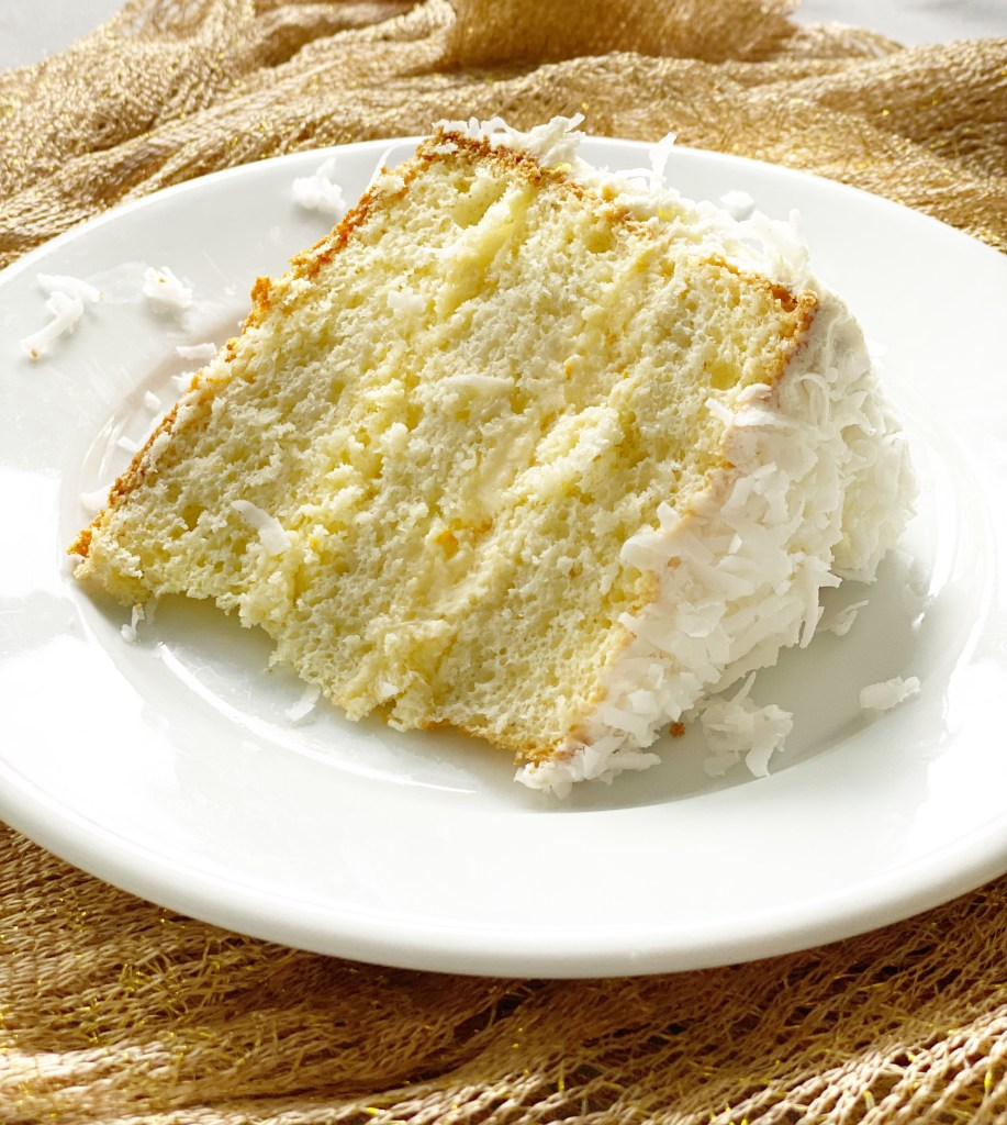 slice of orange sponge cake laying down