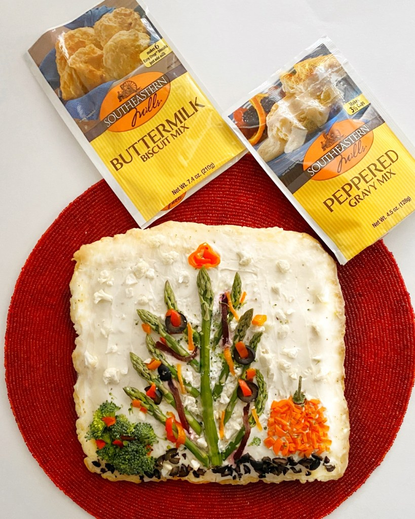 vegetable pizza appetizer with southeastern mills biscuit mix