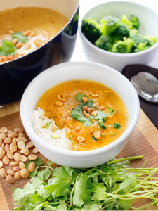 thai rama chicken soup with ingredients