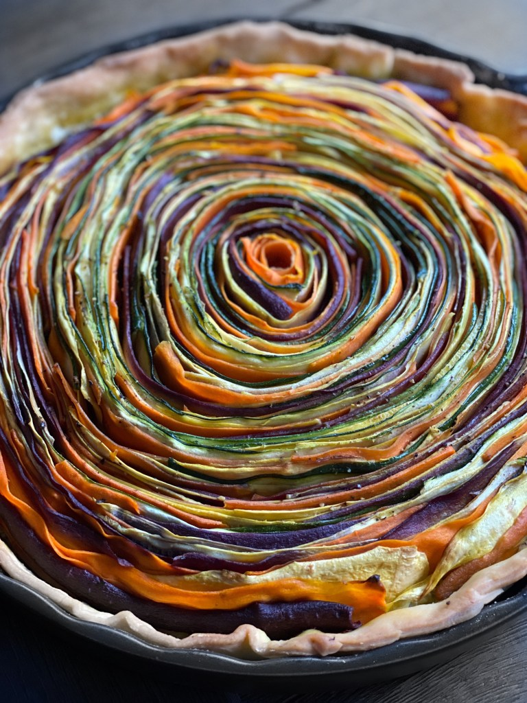close up of spring vegetable tart