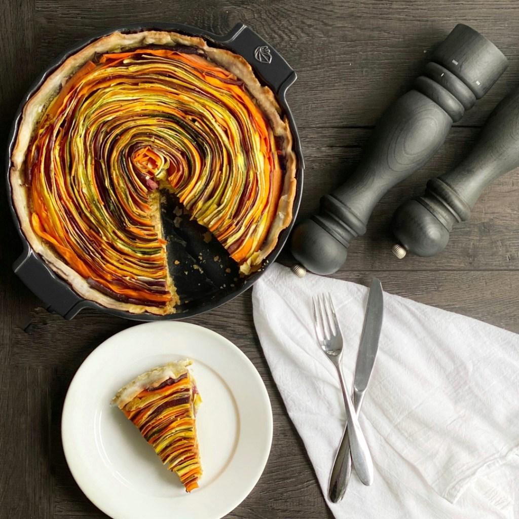 overhead single slice vegetable tart