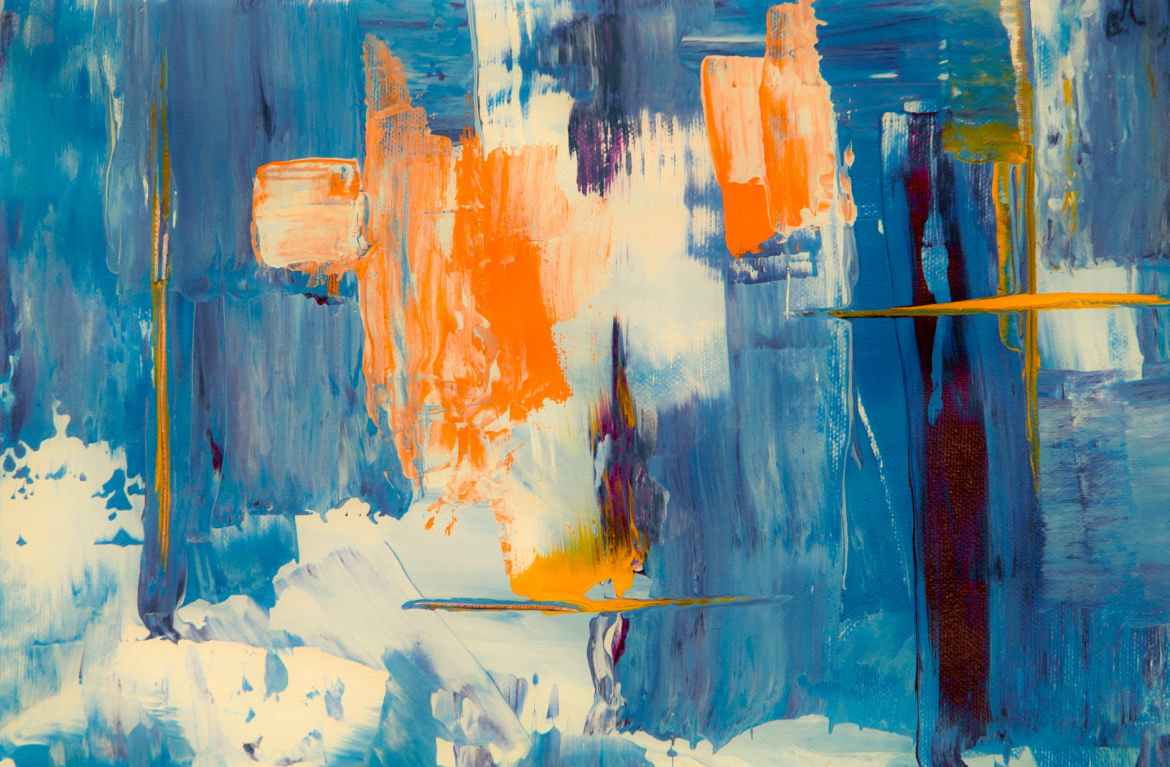blue white and orange abstract painting