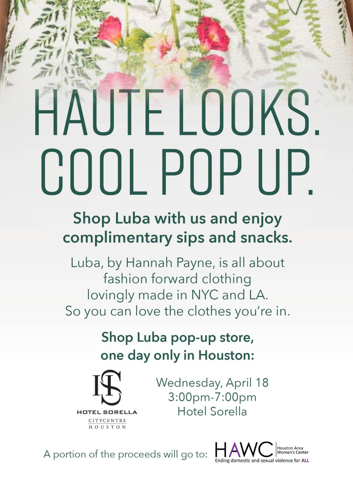 Exciting upcoming shopping event at Hotel Sorella CITYCENTRE on April 18. The immersive pop up experience, highlighting designer Hannah Payne's Luba line