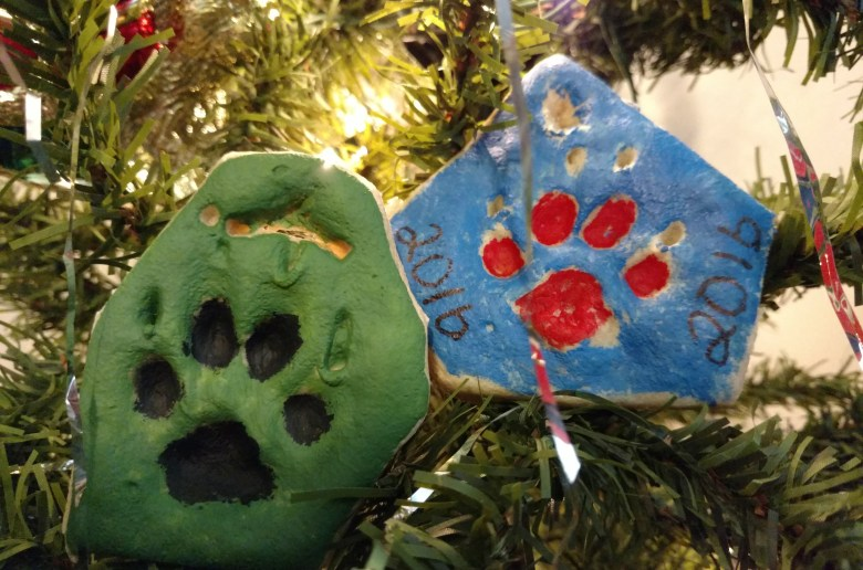 Include your dog with this holiday with this DIY Paw Print Salt Dough Ornament Recipe.