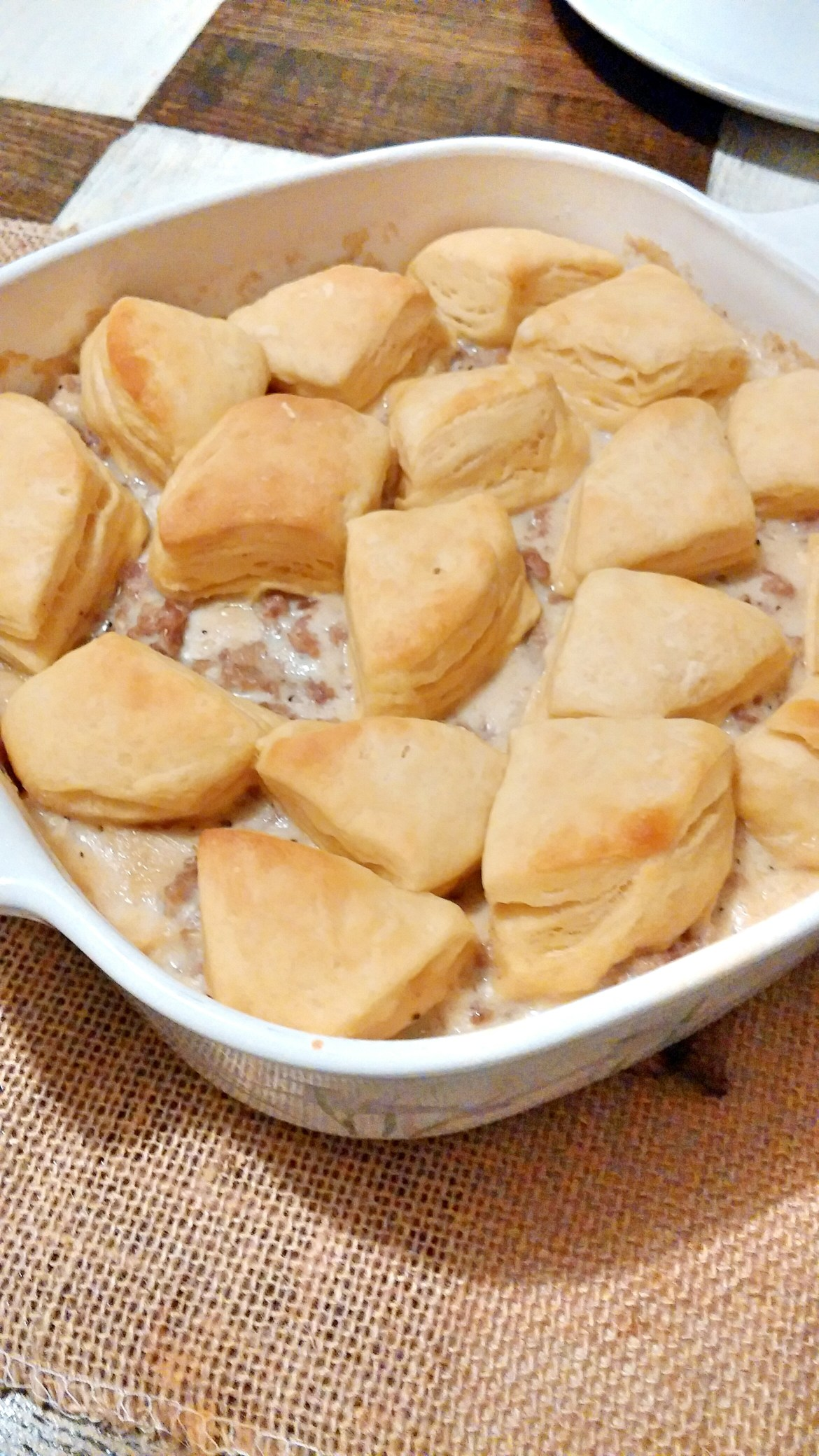 Fast and Easy Semi-Homemade Biscuits and Gravy Breakfast Casserole Recipe