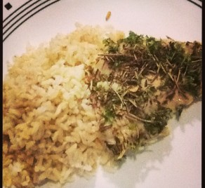 herbed crusted chicken with brown rice