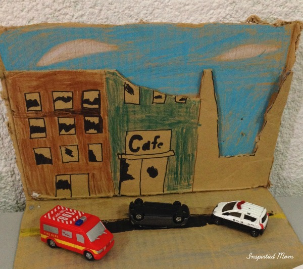 """Coby's """"Earthquake Scene"""" for Science. Notice the police car and the ambulance :)"""
