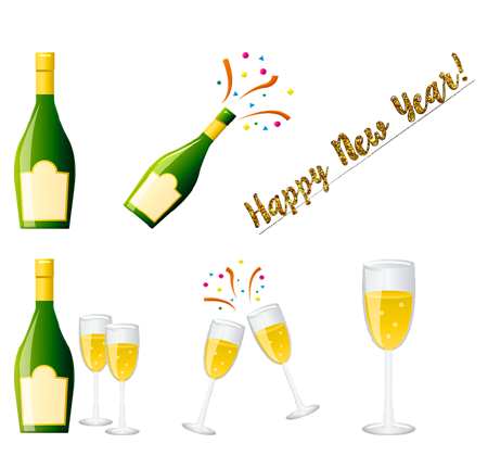 Happy New Year 2019 Party Stickers