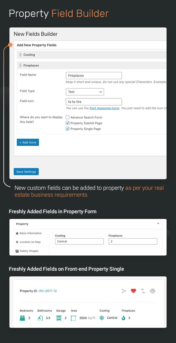 Property field builder to add custom fields.