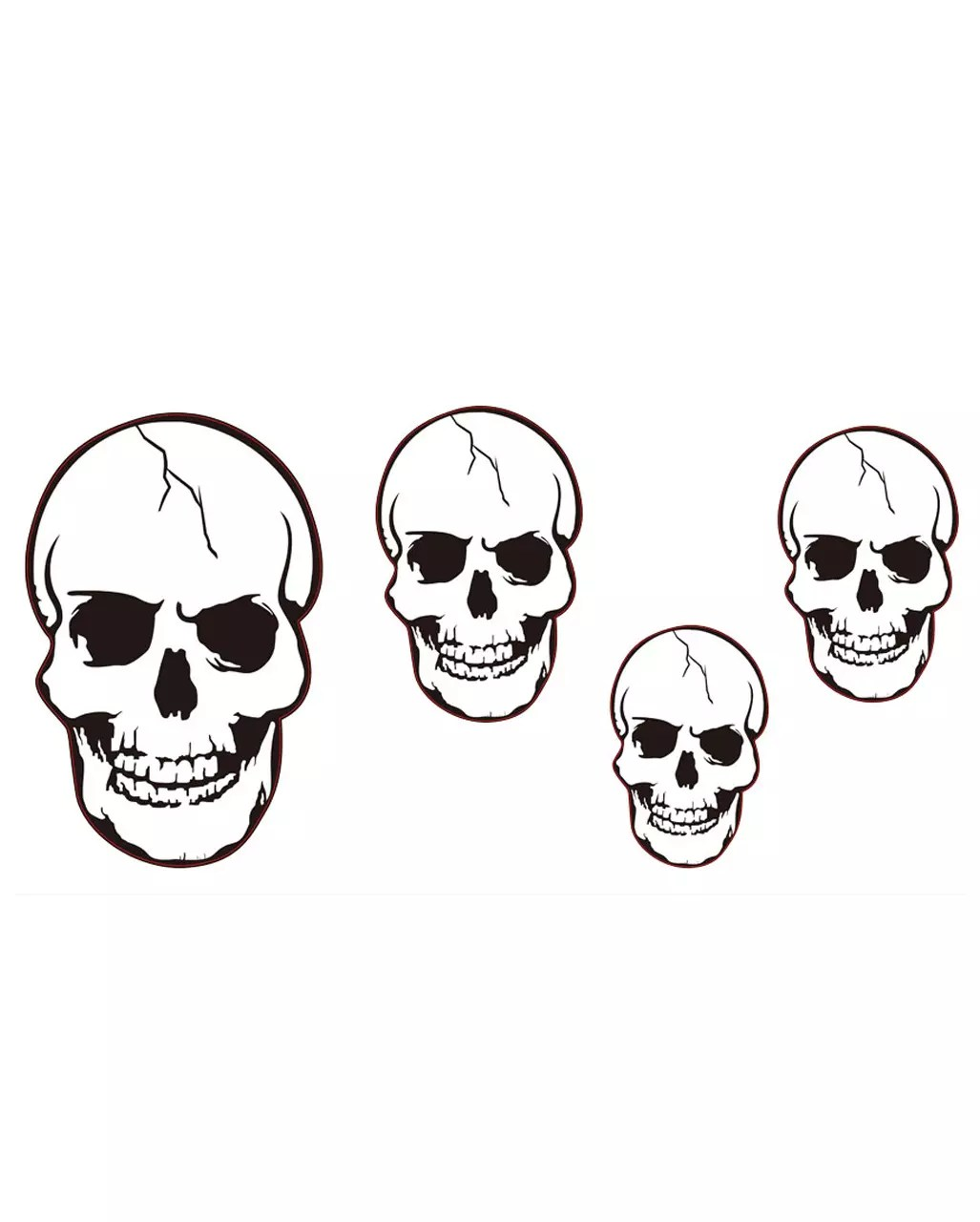 4 Skulls Cut Outs Wall Decoration For Halloween