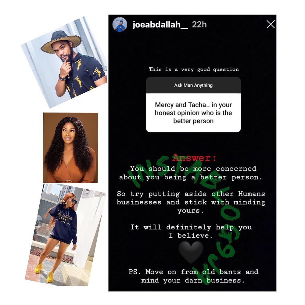 Ex BBN contestant, Joe Abdallah, educates a follower who pitted Mercy against Tacha