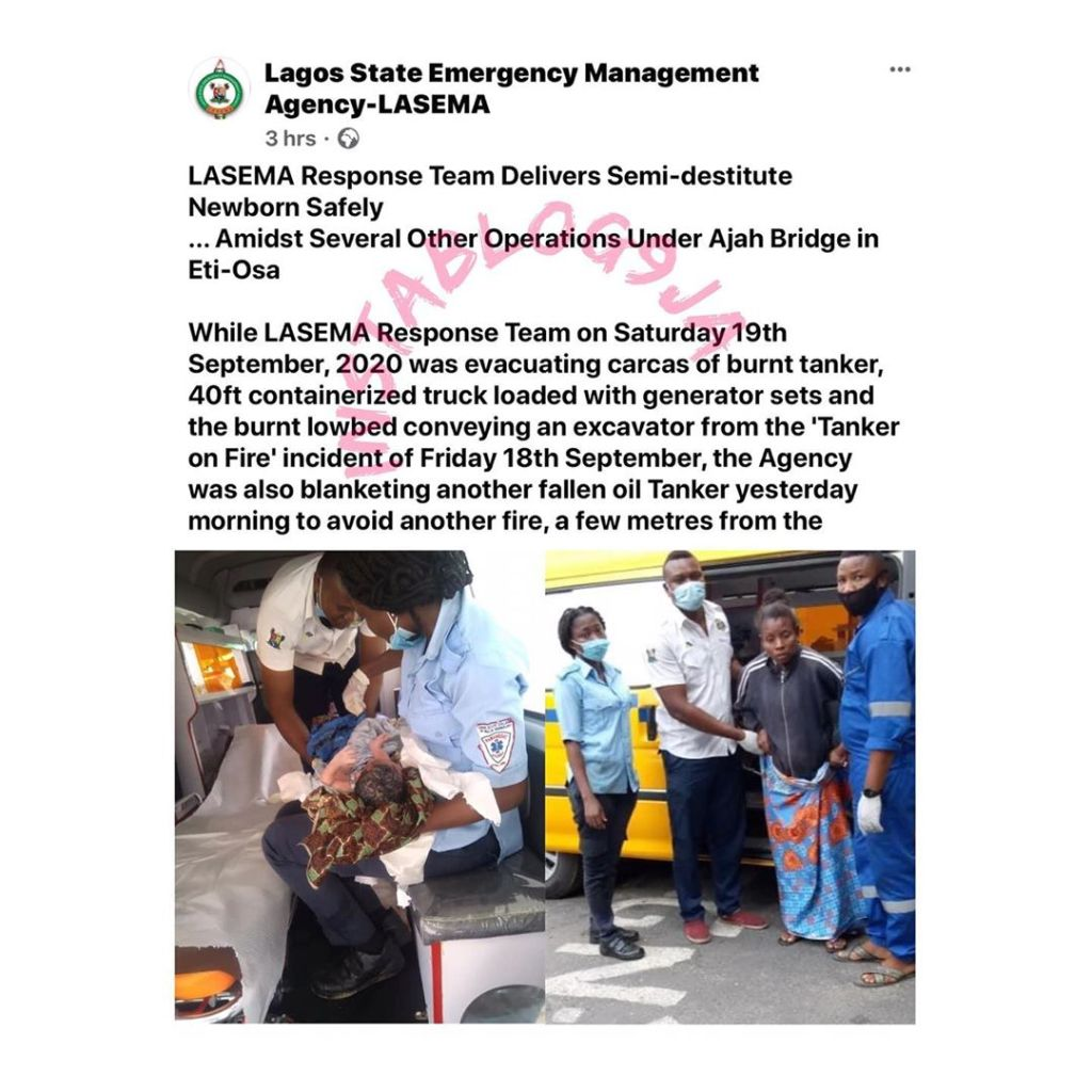 LASEMA response team delivers semi-destitute newborn baby under Ajah bridge. [Swipe]