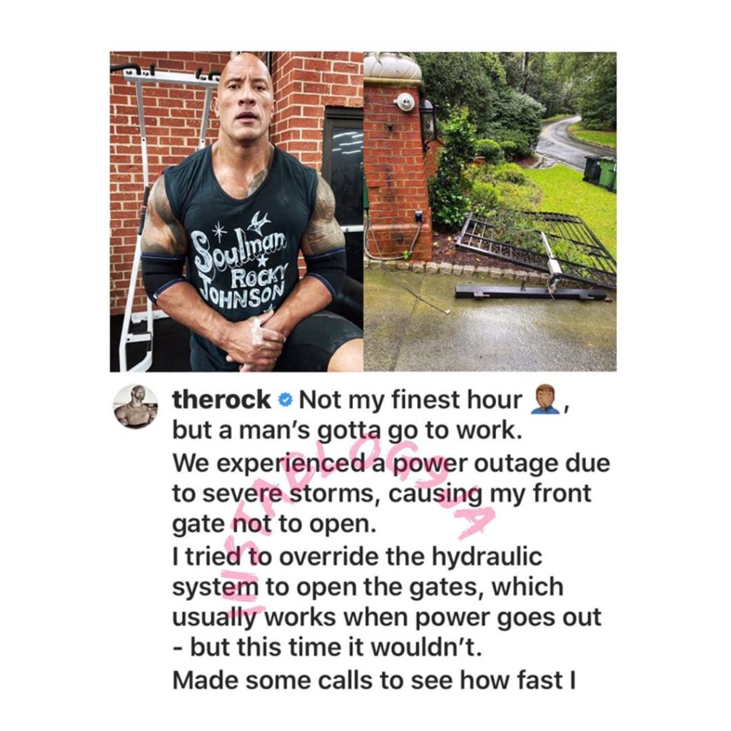 Actor The Rock singlehandedly rips his front gate off to get to work on time. [Swipe]