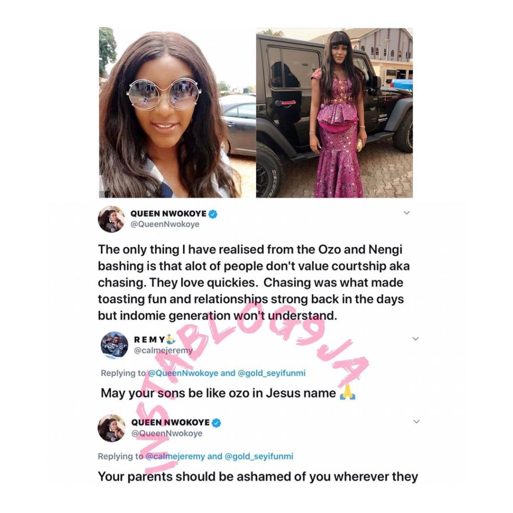Actress Queen Nwokoye slams man who prayed that her son will be like Ozo. [Swipe]