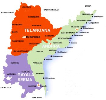andra pradesh with telangana map 7071