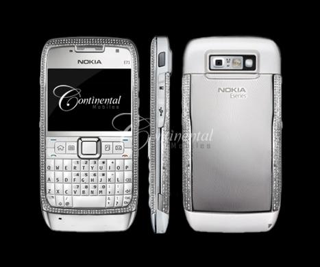 nokia e71 white diamond encrusted luxury mobile ph