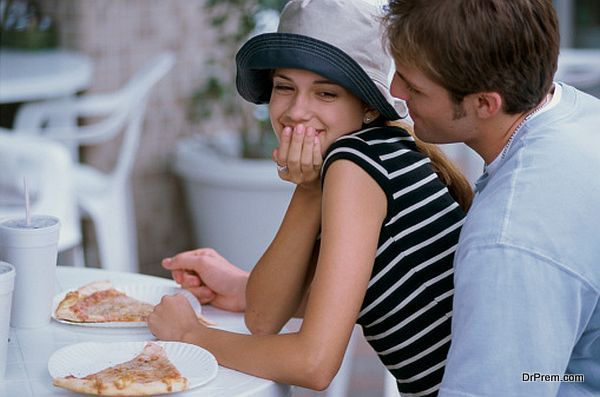 couple taking meal in restaurant