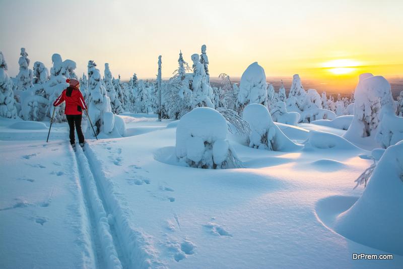 woman on Winter Break in Lapland, Finland