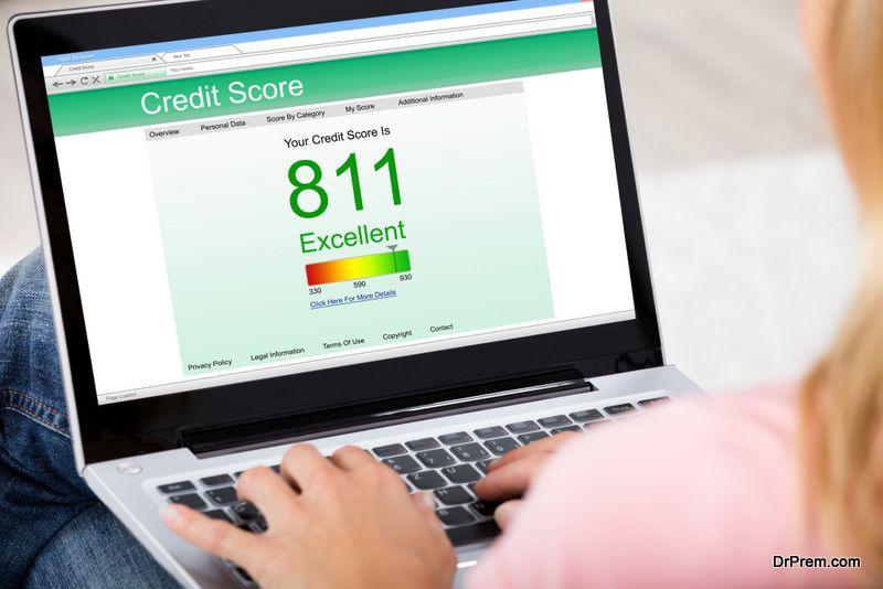 woman checking credit score