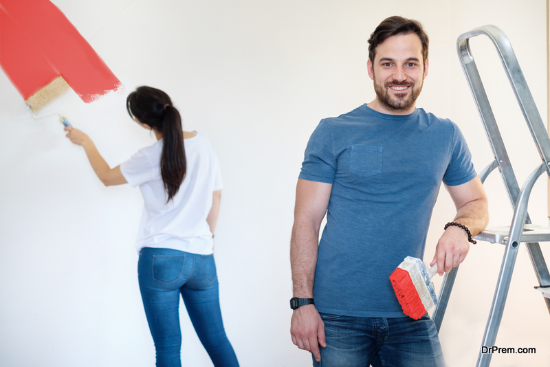 couple Creating an accent wall