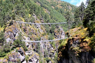 The scary double bridge that marks the beginning of the climb. You cross the bridge on top as the lower bridge is not in use anymore.
