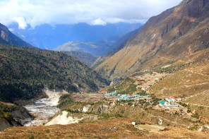 View of Pengboche from the trail to AD base camp