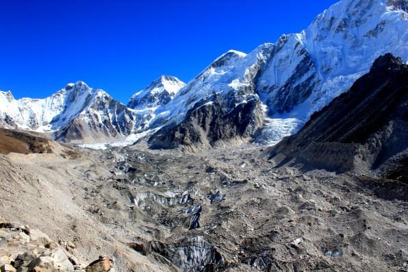 Khumbu glacier covered by mud