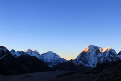 First rays of sun hitting the peaks
