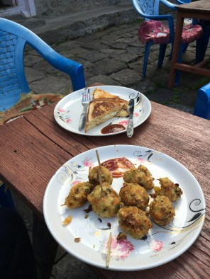 Hot pakoras and grilled cheese sandwich on a crisp cold evening can make everything seem even more wondrous!!