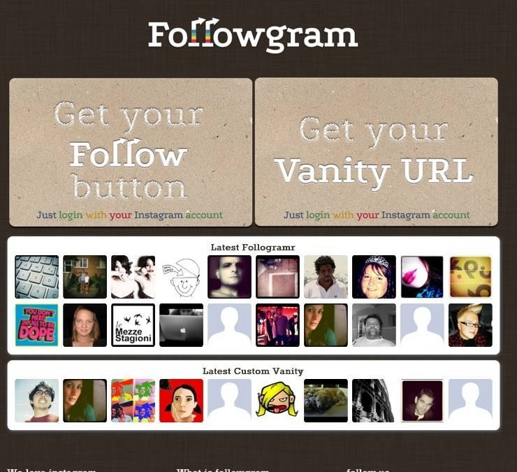 Followgram, the Instagram follow botton for your blog