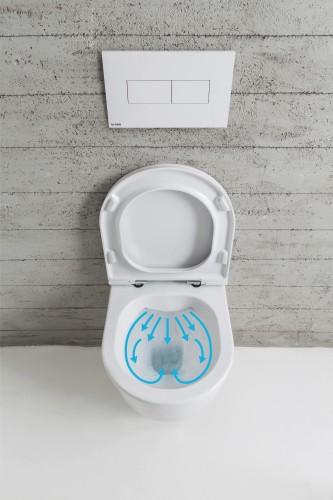 Randloze toiletten met stille water-door-stroming
