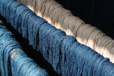 Cotton yarn in the many shades of Indigo (Pic by Pankaj Sekhsaria)
