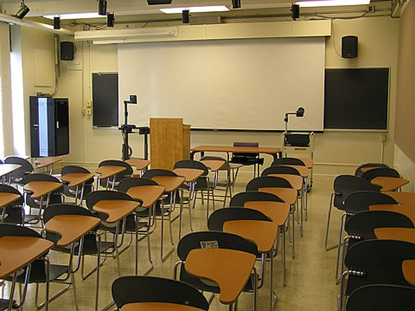seats in the class have the table on the right hand side