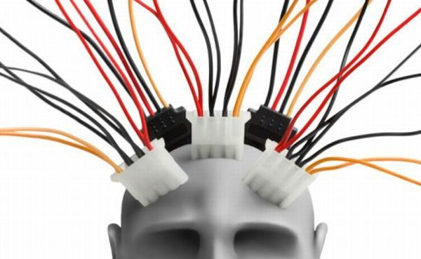Human head  with wires made of plasticine